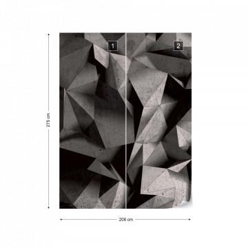 3D Polygon Concrete Texture Dark Grey Photo Wallpaper Wall Mural