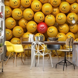 3D Smily Faces Photo Wallpaper Wall Mural