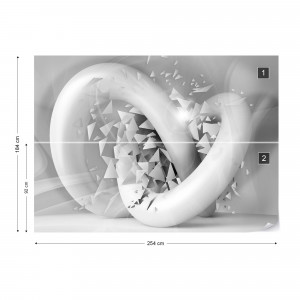 3D Structure Splinters White And Grey Photo Wallpaper Wall Mural