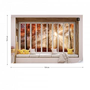 3D Window View Autumn Forest Photo Wallpaper Wall Mural