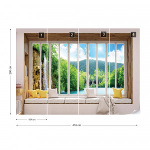 3D Window View Waterfall Lake Forest Photo Wallpaper Wall Mural