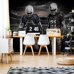 American Football Players Stadium Black And White Photo Wallpaper Wall Mural