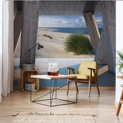 Beach 3D Modern View Concrete Photo Wallpaper Wall Mural