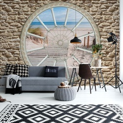 Beach Sea Ornamental Window View Photo Wallpaper Wall Mural