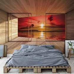 Beach Sunset 3D Modern Window View Photo Wallpaper Wall Mural