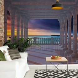 Beach Sunset 3D View Through Columns Photo Wallpaper Wall Mural