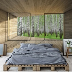 Birch Forest 3D Modern Window View Photo Wallpaper Wall Mural