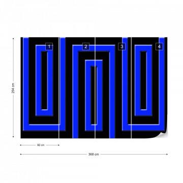 Black And Blue Geometric Pattern Photo Wallpaper Wall Mural