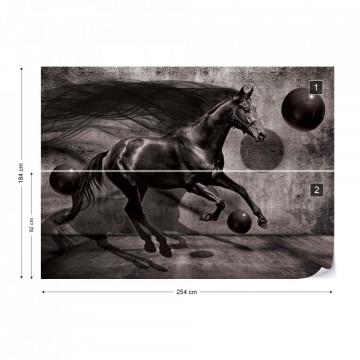 Black Horse 3D Modern Design Photo Wallpaper Wall Mural