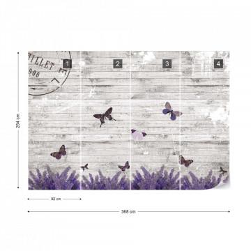 Butterflies Lavender Flowers Vintage Wood Design Photo Wallpaper Wall Mural