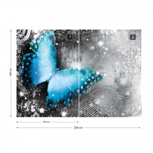 Butterfly Blue And Grey Photo Wallpaper Wall Mural