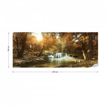 Calm Waterfall Forest Lake Scene Photo Wallpaper Wall Mural