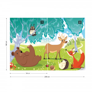 Cartoon Animals In The Forest Photo Wallpaper Wall Mural