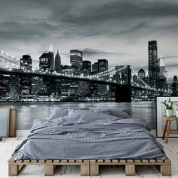 City Brooklyn Bridge New York Black And White Photo Wallpaper Wall Mural