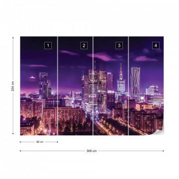 City Skyline Warsaw At Night Purple Photo Wallpaper Wall Mural