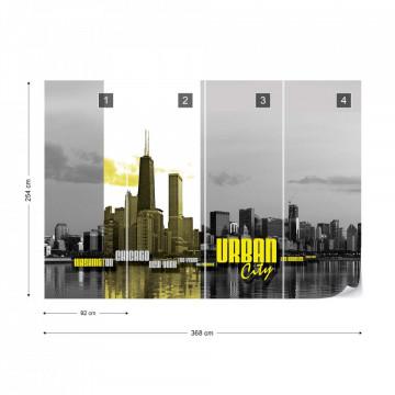City Skyline Yellow Photo Wallpaper Wall Mural
