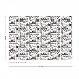Coffee Pattern Black And White Photo Wallpaper Wall Mural