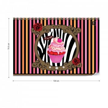 Cupcake Stripes Photo Wallpaper Wall Mural