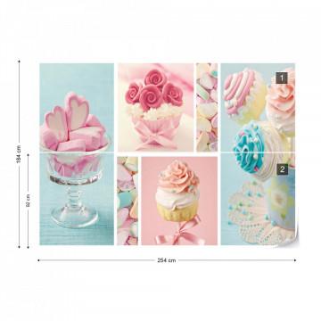 Cupcakes And Marshmallows Photo Wallpaper Wall Mural