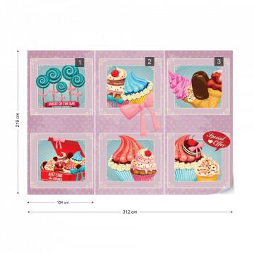 Cupcakes Pink Retro Photo Wallpaper Wall Mural