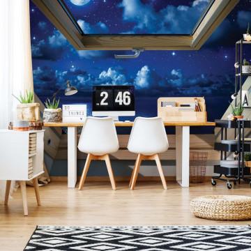 Dreamy Night Sky 3D Skylight Window View Photo Wallpaper Wall Mural