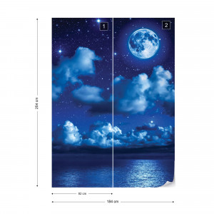 Dreamy Night Sky Clouds And Moon Photo Wallpaper Wall Mural