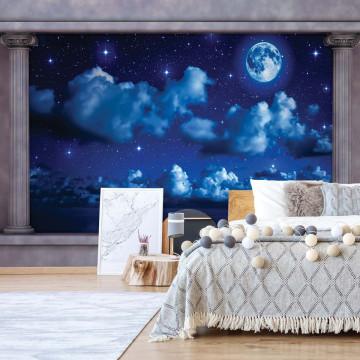 Dreamy Night Sky Roman Column View Photo Wallpaper Wall Mural