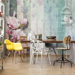 Flowers Vintage Script Rustic Painted Wood Planks Photo Wallpaper Wall Mural