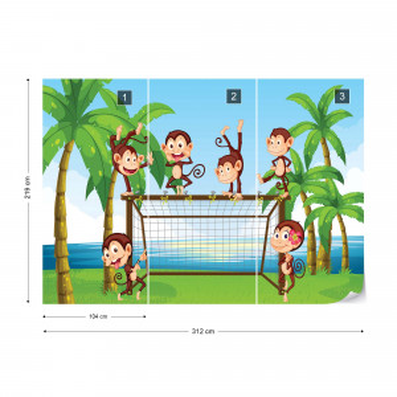 Football Monkeys Cartoon Photo Wallpaper Wall Mural