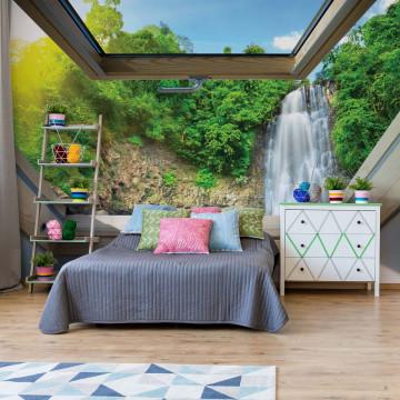 Forest Waterfall Skylight Window View Photo Wallpaper Wall Mural