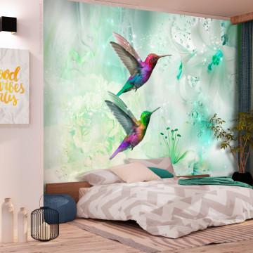 Fototapet autoadeziv - Colourful Hummingbirds (Green)