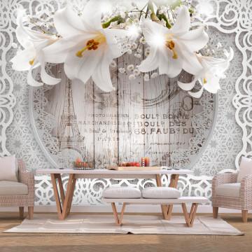 Fototapet autoadeziv - Lilies and Wooden Background