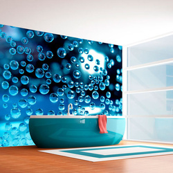 Fototapet - Blue water with bubbles