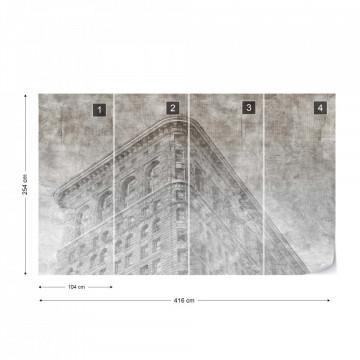 Fototapet - Clădire din New York – Efect Grafic Alb-Negru