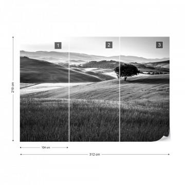 Fototapet - Dealuri Înverzite – Alb-Negru