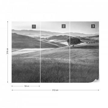 Fototapet - Dealuri Înverzite – Aspect Vintage, Alb-Negru