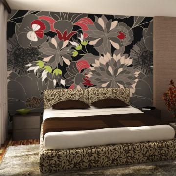 Fototapet - floral design - gray
