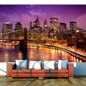 Fototapet - Manhattan and Brooklyn Bridge by night