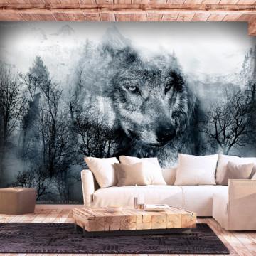 Fototapet - Mountain Predator (Black and White)