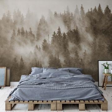 Fototapet - Pădure de Brazi în Ceață – Aspect Texturat, Sepia