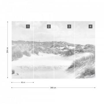 Fototapet - Paradis în Deșert – Aspect Vintage Alb-Negru