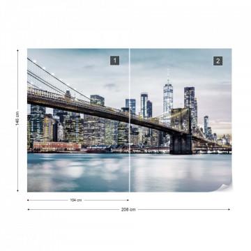 Fototapet - Podul Brooklyn NYC – Tonuri Reci