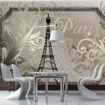 Fototapet - Vintage Paris - gold
