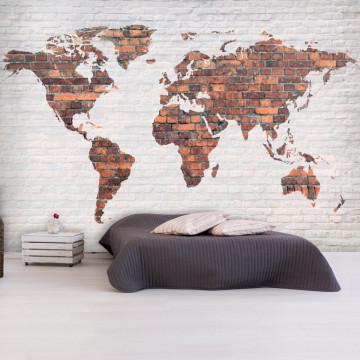 Fototapet - World Map: Brick Wall
