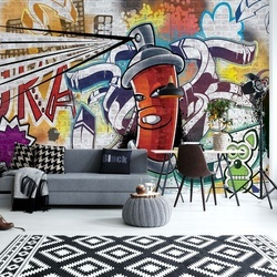 Graffiti Street Art Red Photo Wallpaper Wall Mural