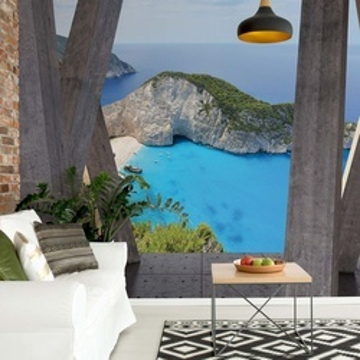 Greece Island 3D Modern View Concrete Photo Wallpaper Wall Mural