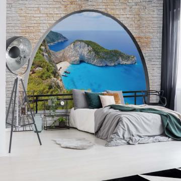 Greece Island Beach Window View Photo Wallpaper Wall Mural