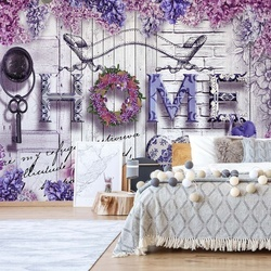 Home Purple Flowers Vintage Farmhouse Chic Photo Wallpaper Wall Mural