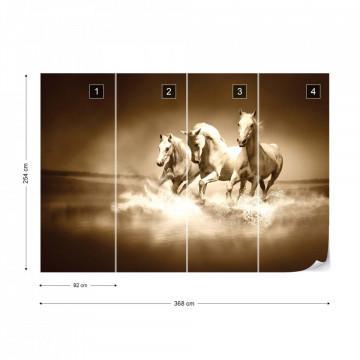 Horses Sepia Photo Wallpaper Wall Mural