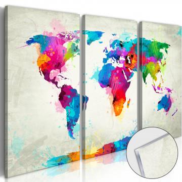 Imagine pe sticlă acrilică - World Map: An Explosion of Colours [Glass]